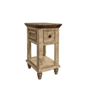 Rustic 1 Drawer Chair Side Table with Bun Feet