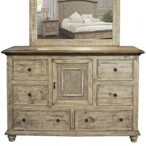 Rustic Solid Wood 6-Drawer and 1-Door Dresser with Microfiber-Lined Top Drawers