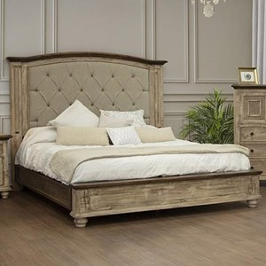 Rustic Queen Bed with Button Tufted Headboard