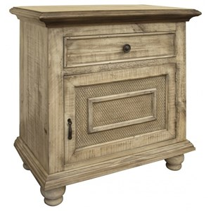Rustic Solid Wood 1-Drawer and 1-Door Nightstand with Microfiber-Lined Top Drawer