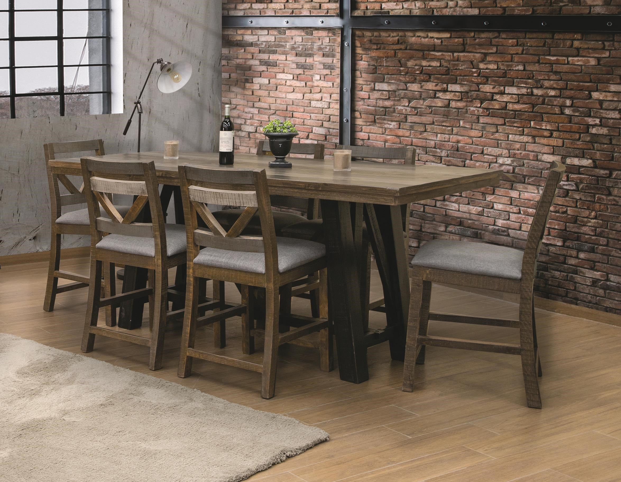 Loft 5 Piece Counter Height Dining Set by International Furniture Direct at Darvin Furniture