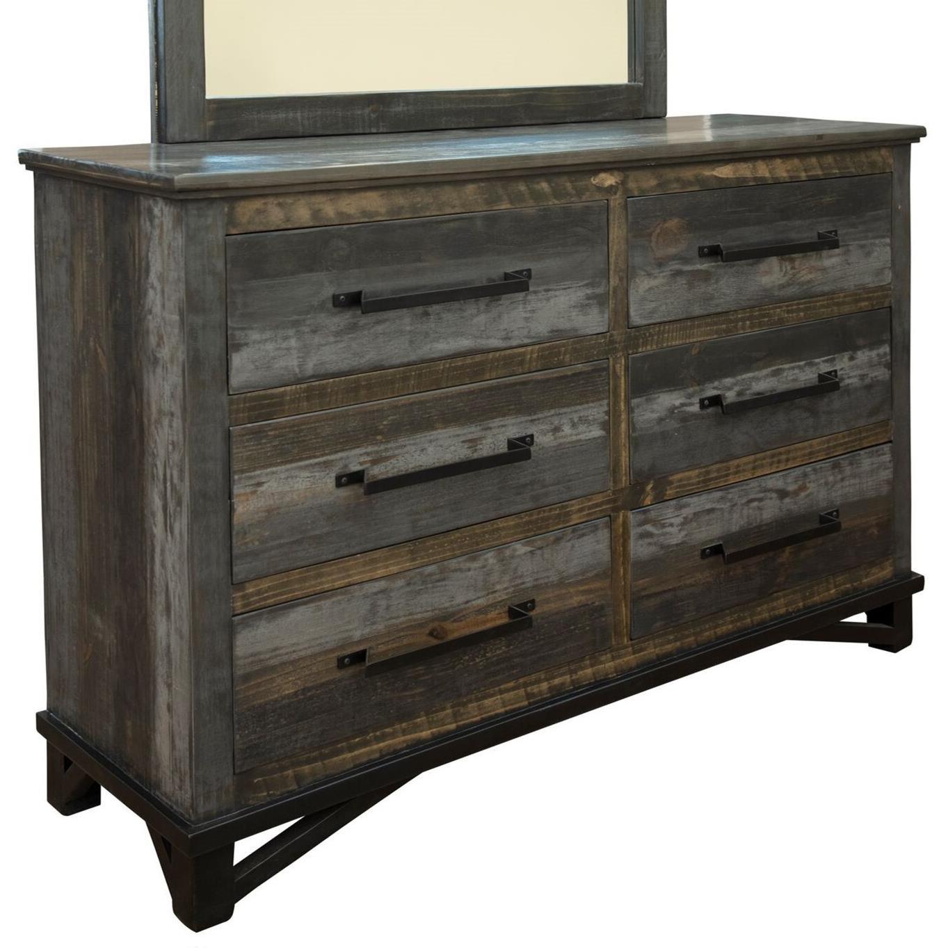 Loft 6 Drawer Dresser by International Furniture Direct at Darvin Furniture