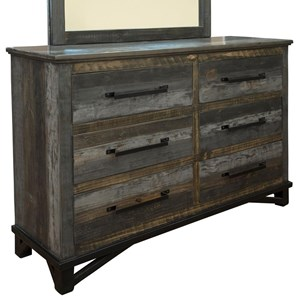 Rustic 6 Drawer Dresser