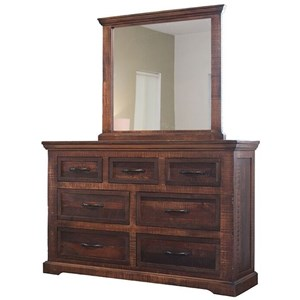 Rustic 7 Drawer Dresser with Mirror