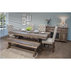 6 Piece Rectangular Counter Height Table, 4 Upholstered Barstools and Counter Height Bench Set
