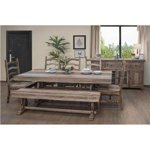 6 Piece Rectangular Counter Height Dining Table, 4 Wooden Barstools, and Counter Height Bench Set