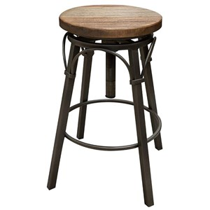 "24-30"" Adjustable Swivel Stool, Wooden Seat"