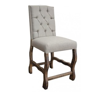 Upholstered Counter Height Barstool with Tufted Back