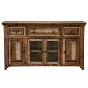 Solid Wood Console with 3 Drawers and 4 Doors