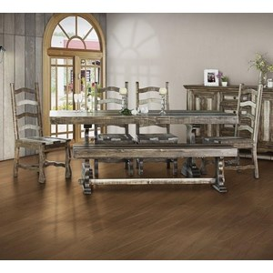 Dining Set with Bench and Ladder Back Chairs