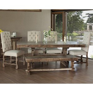 Dining Set with Bench and Upholstered Chairs