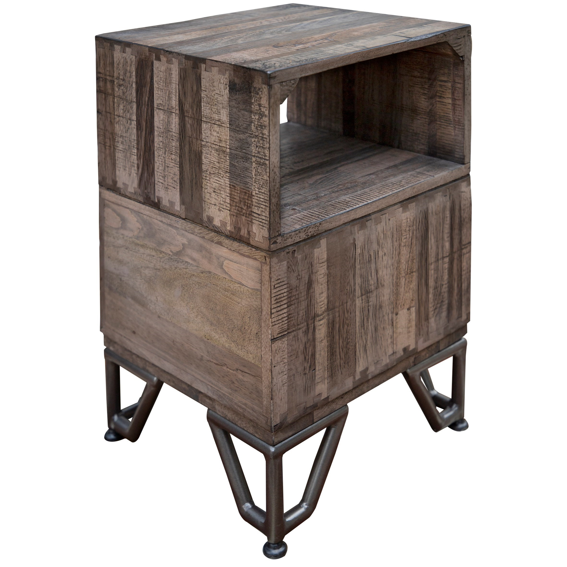 Maya Gray Chairside Table by International Furniture Direct at Sparks HomeStore