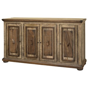 Rustic 4 Wooden Doors Console with Textured Finish