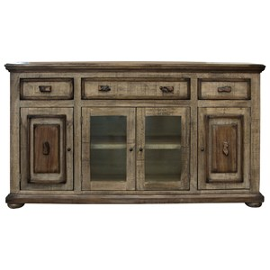 Rustic 2 Glass and 2 Wooden Doors Console with Textured Finish