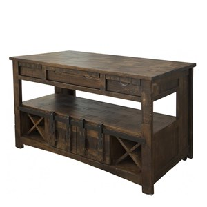 Rustic Kitchen Island with Wine Bottle Storage