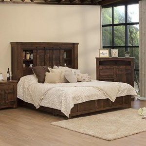 Rustic Queen Storage Bed with Sliding Doors