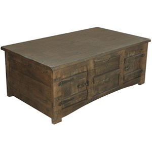 Rustic Solid Wood Cocktail Table With 4 Drawers and 4 Doors