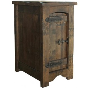 Rustic Solid Wood 1 Door Chairside Table