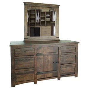 Rustic 6-Drawer and 1-Door Dresser and Mirror