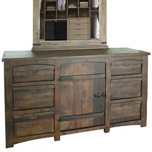 Rustic 6-Drawer and 1-Door Dresser with Microfiber-Lined Top Drawers