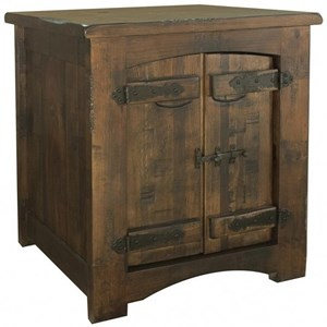 Rustic Solid Wood 1 Door End Table