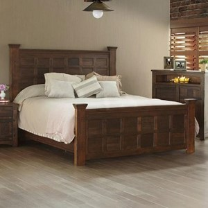 Rustic Solid Wood Queen Panel Bed