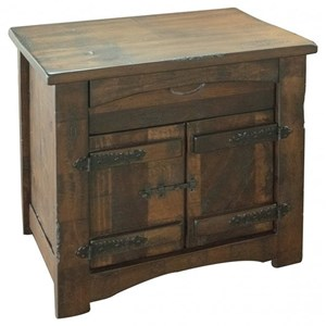 Rustic Nightstand with 2 Doors and 1 Drawer
