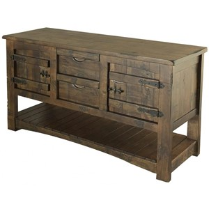 Rustic Solid Wood Sofa Table With 2 Drawers and 2 Doors