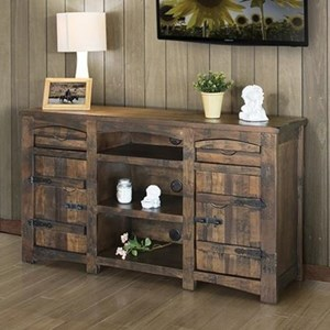 "Rustic Solid Wood 60"" TV Stand with Cord Access Holes"