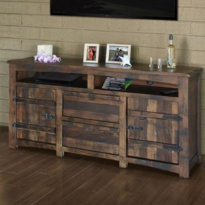 "Rustic Solid Wood 70"" TV Stand with Cord Access Holes"