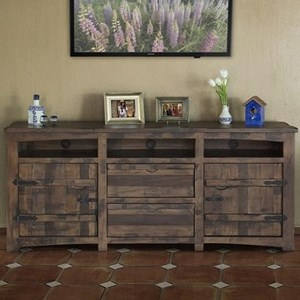 "Rustic Solid Wood 80"" TV Stand with Cord Access Holes"