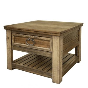 Rustic End Table with 1 Drawer