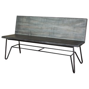 Solid Wood Bench with Metal Base