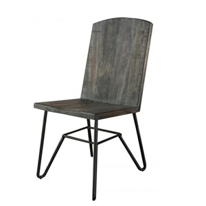 Contemporary Solid Parota Chair with Iron Base
