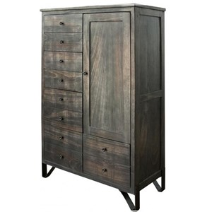 Contemporary 5 Drawer Solid Wood Chest with Door with Hand Wrought Iron Feet