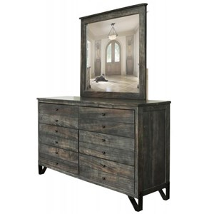 Contemporary 6 Drawer Solid Wood Dresser with Mirror