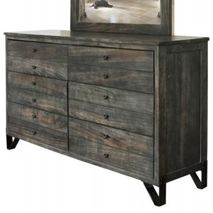 Contemporary 6 Drawer Solid Wood Dresser with Hand Wrought Iron Feet