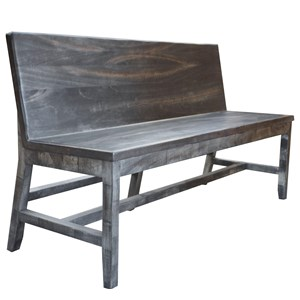 Rustic Solid Wood Bench with Back Rest