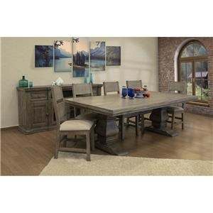 8 Piece Rectangular Dining Room Table, 6 Upholstered Side Chairs and Server Set