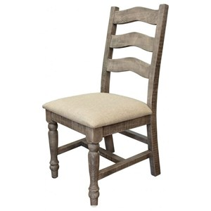 Solid Wood Ladderback Chair with Fabric Seat