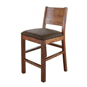 Rustic Bar Stool with Faux Leather Seat