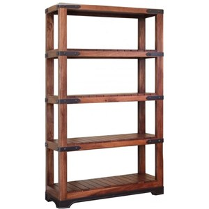 Solid Mango Wood Bookcase with 4 Slatted Shelves