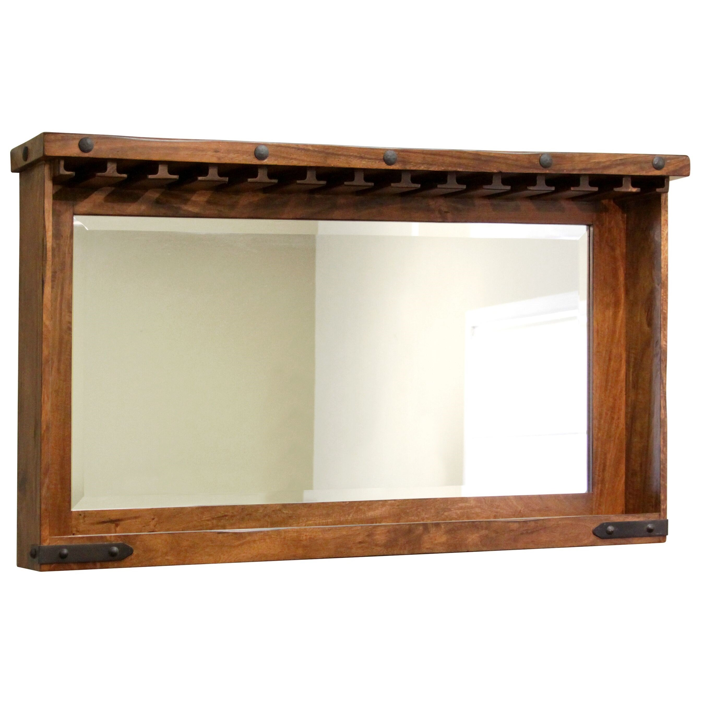 Parota Bar Mirror with Glass Holders and Shelf by International Furniture Direct at Sparks HomeStore