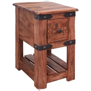 Rustic Solid Wood 1 Drawer Chairside Table