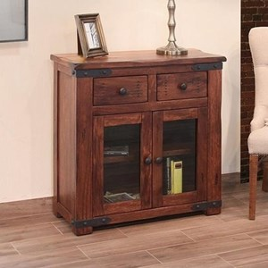 Rustic Server with 2 Drawers and 2 Glass Doors