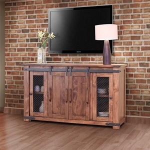 "Rustic 60"" TV Stand with Four Doors"