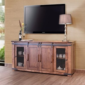 "Rustic 70"" TV Stand with Four Doors"