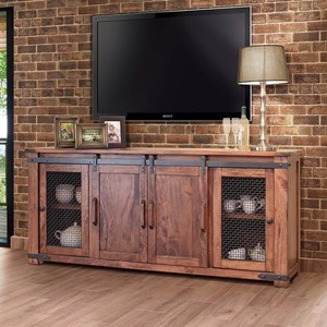 "Rustic 80"" TV Stand with Four Doors"