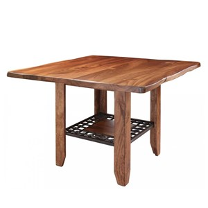 Rustic Counter Height Dining Table with Shelf