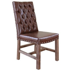 International Furniture Direct Parota Faux Leather Chair with Tufted Back